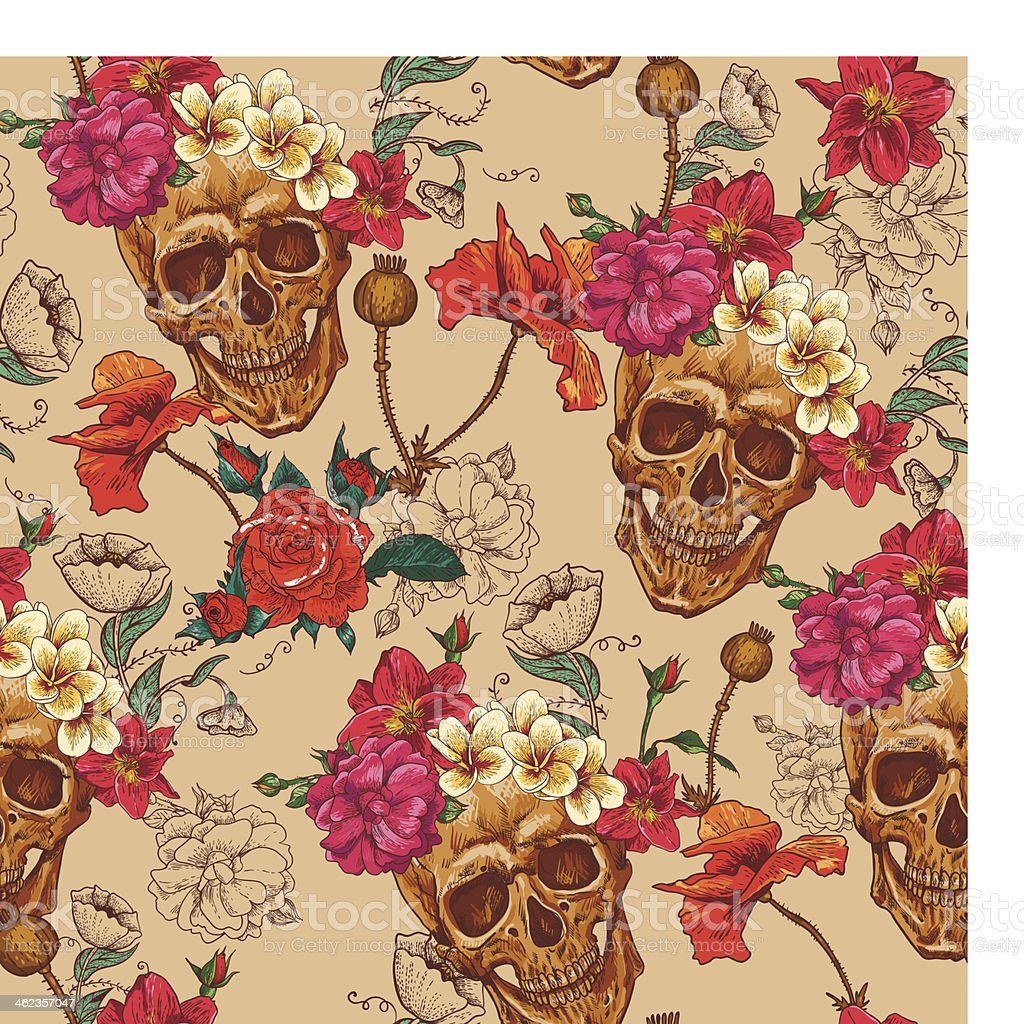 A Skull and Flowers Seamless Background vector art illustration