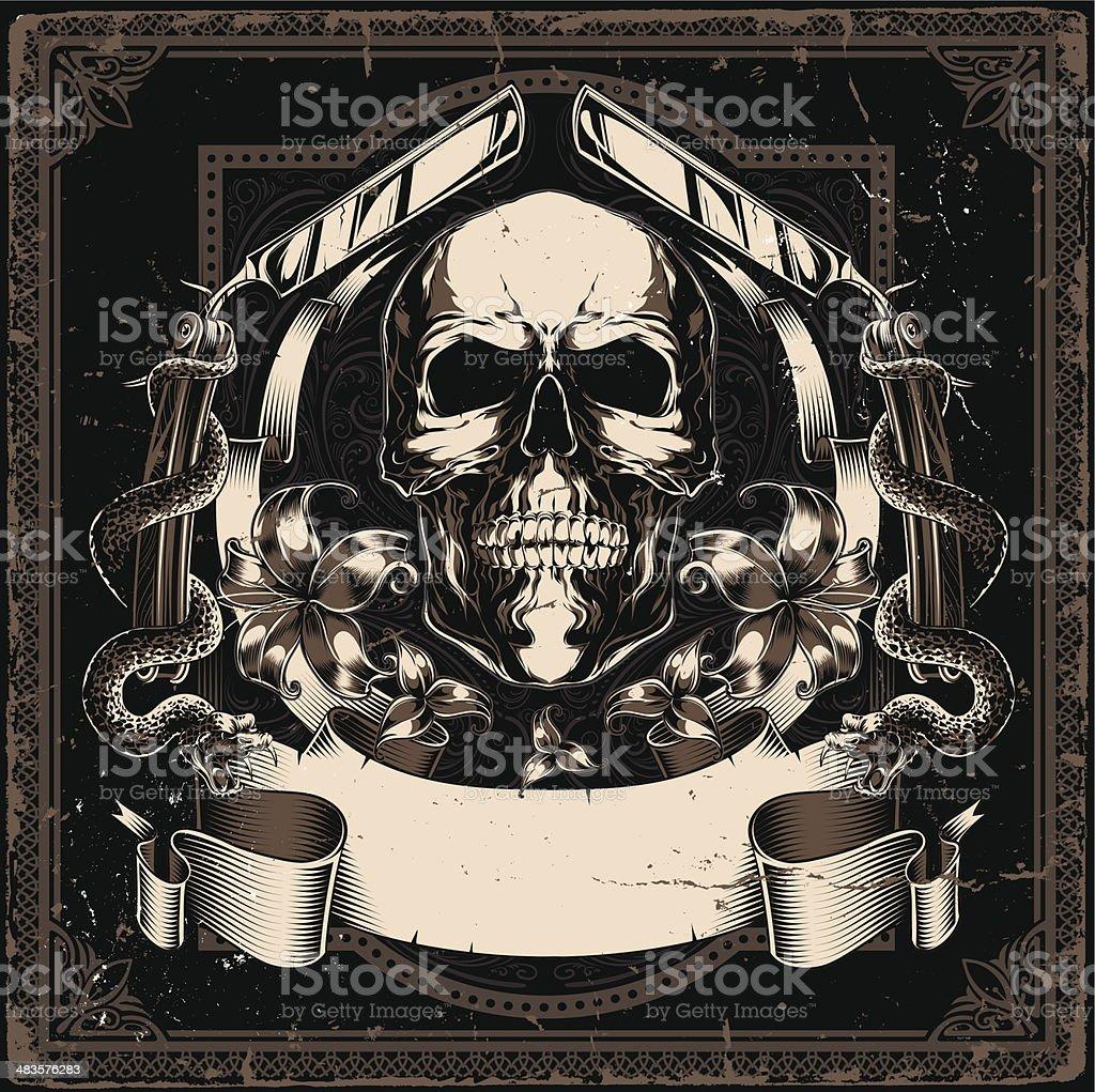 Skull and flowers vector art illustration
