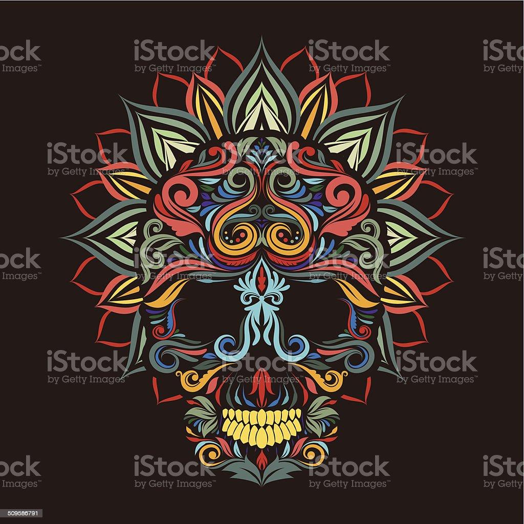 Skull and lotus flower vector art illustration