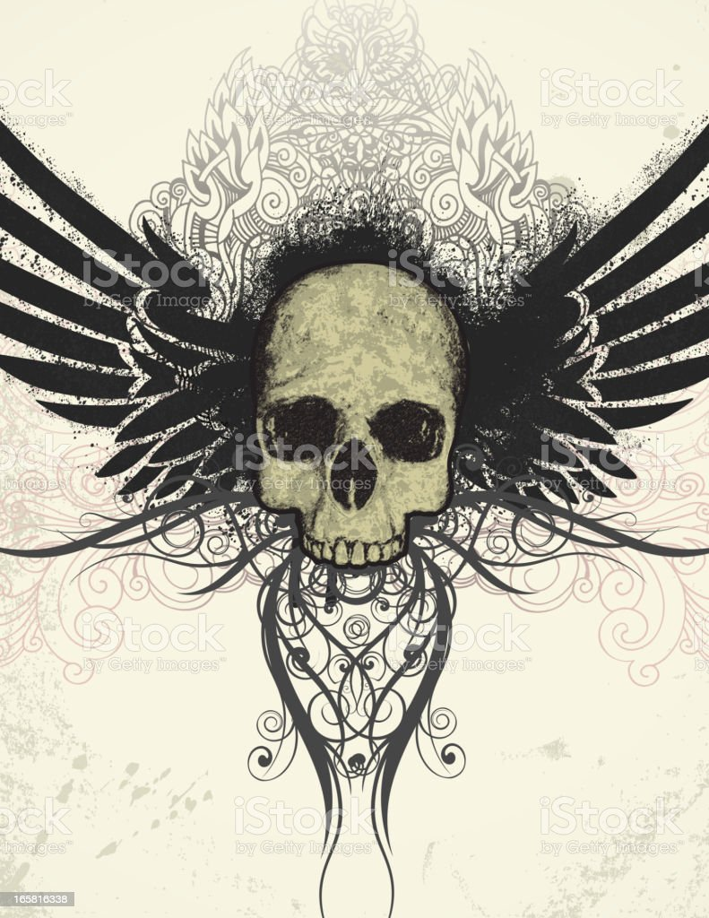 Skull and Wings royalty-free stock vector art