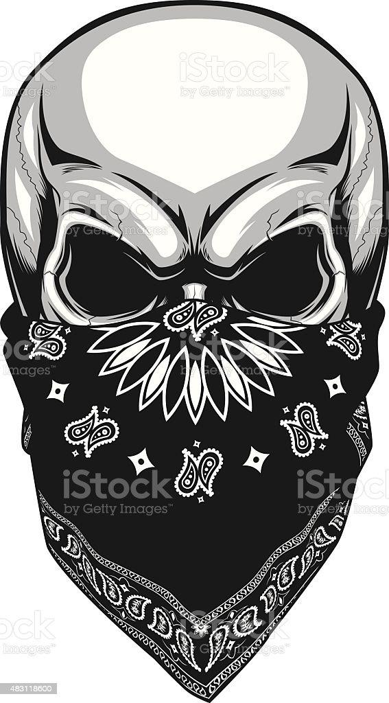 Skull bandana vector art illustration
