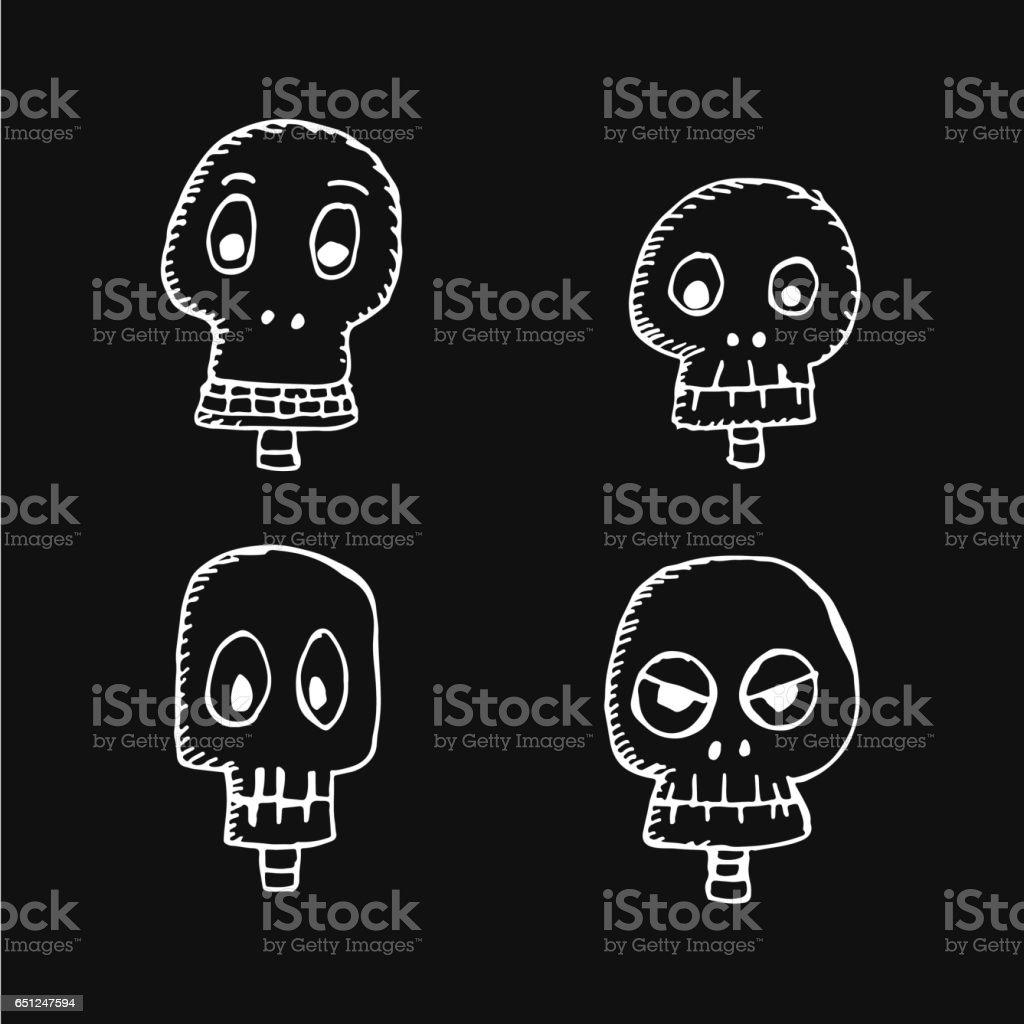 skull bone icon illustration design vector art illustration