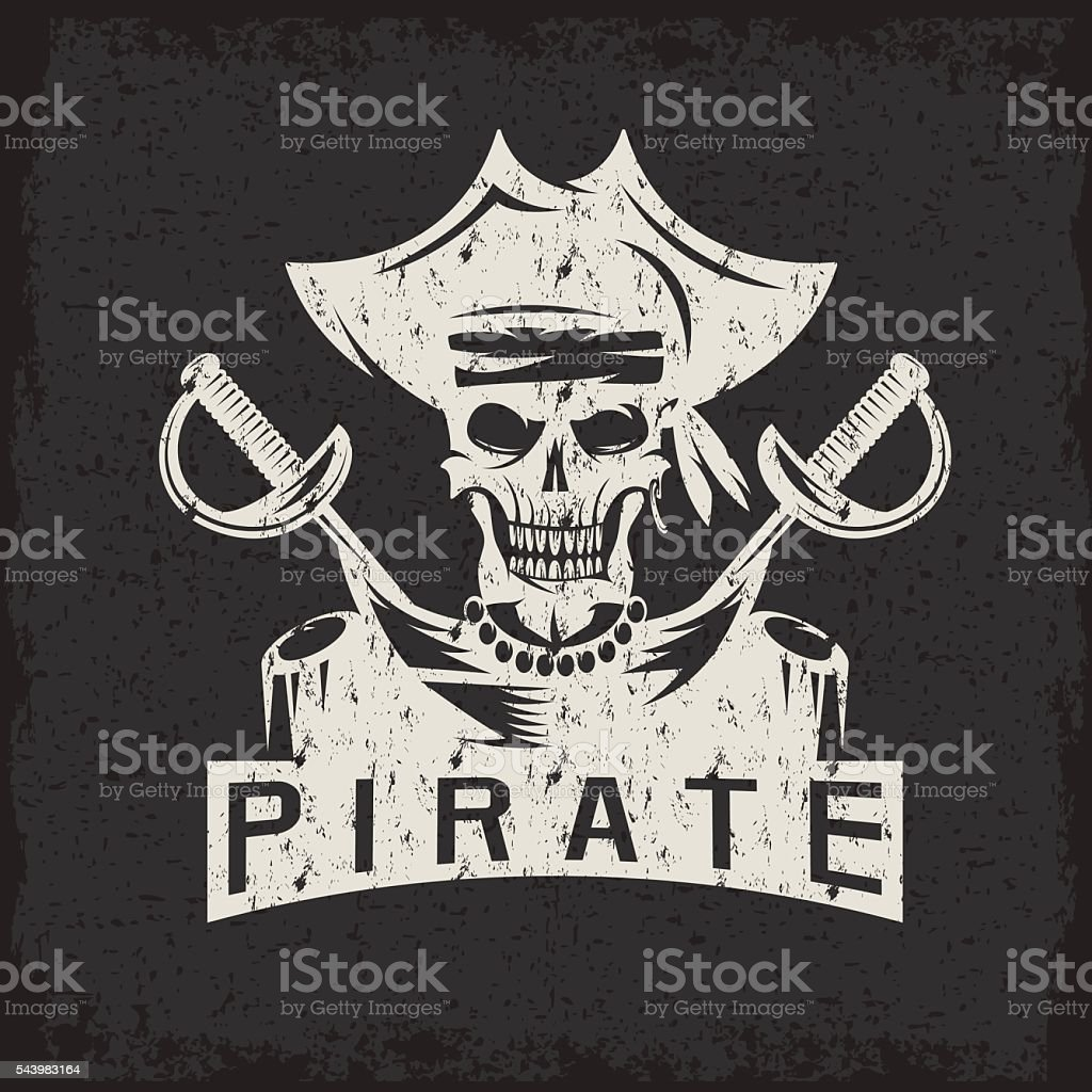 skull captain pirate in hat with swords grunge vector design vector art illustration