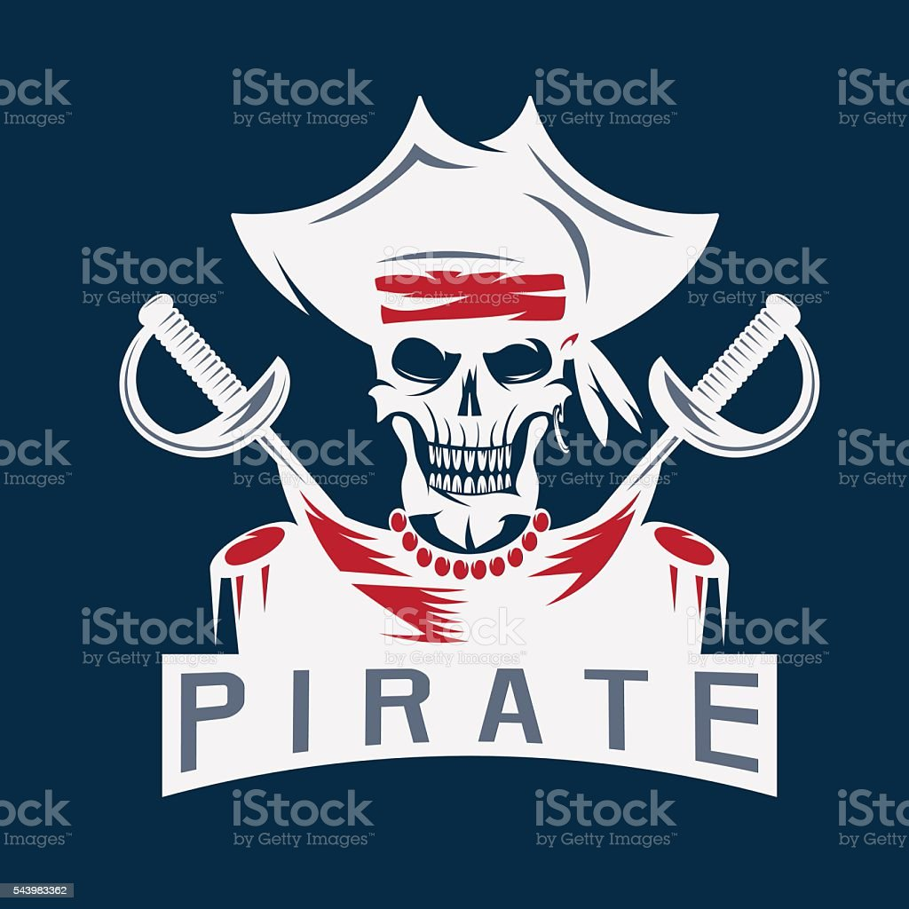 skull captain pirate in hat with swords vector design template vector art illustration