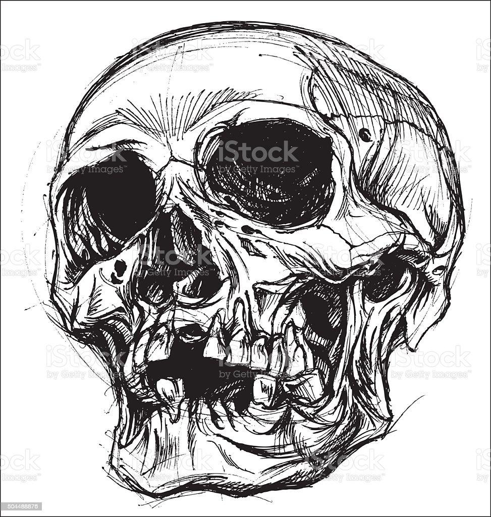 Skull Drawing line work vector vector art illustration