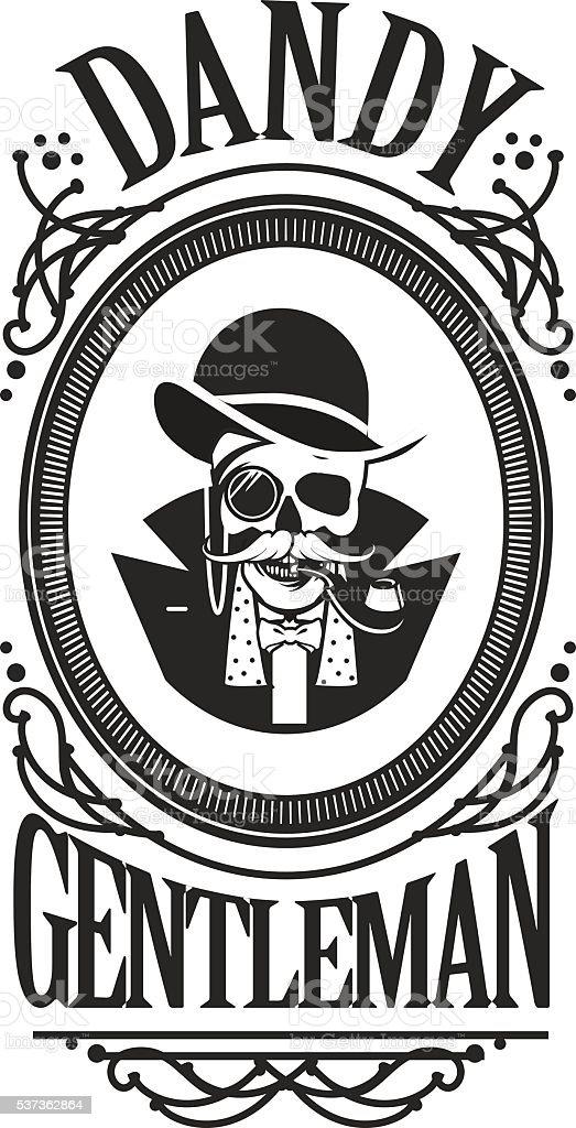 skull gentleman in the cylinder in a frame vector art illustration