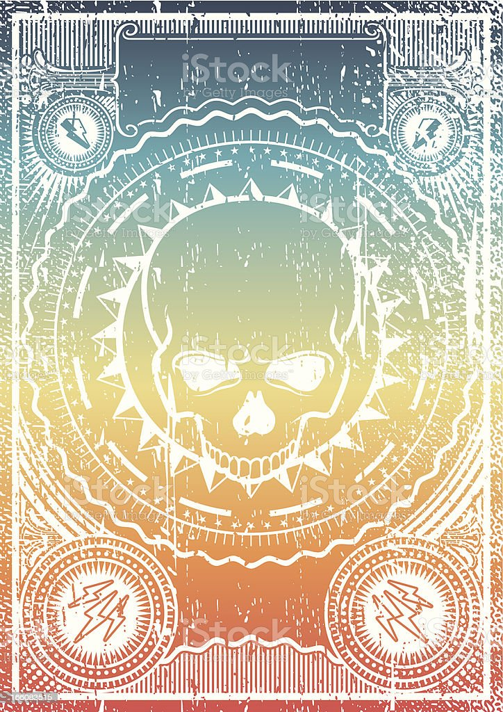 skull grunge poster vector art illustration