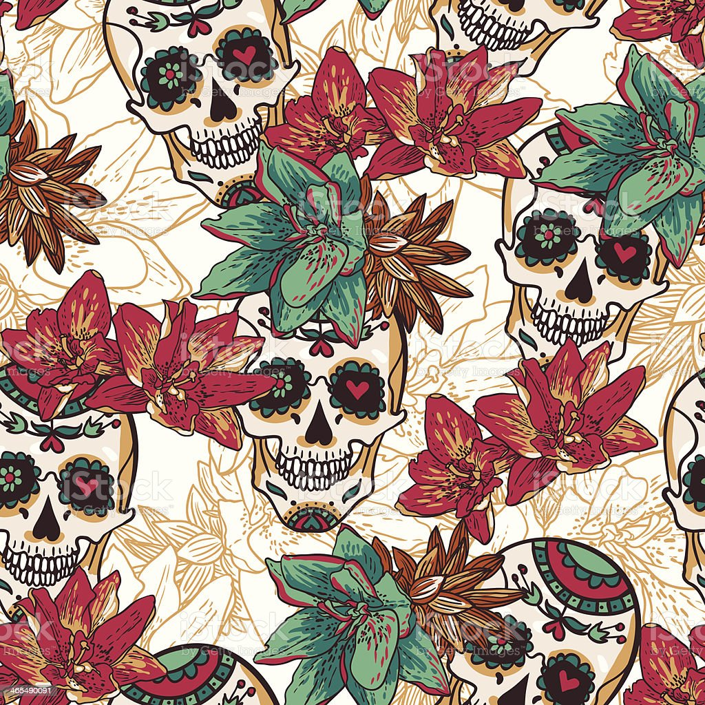 Skull, Hearts and Flowers Seamless Background vector art illustration