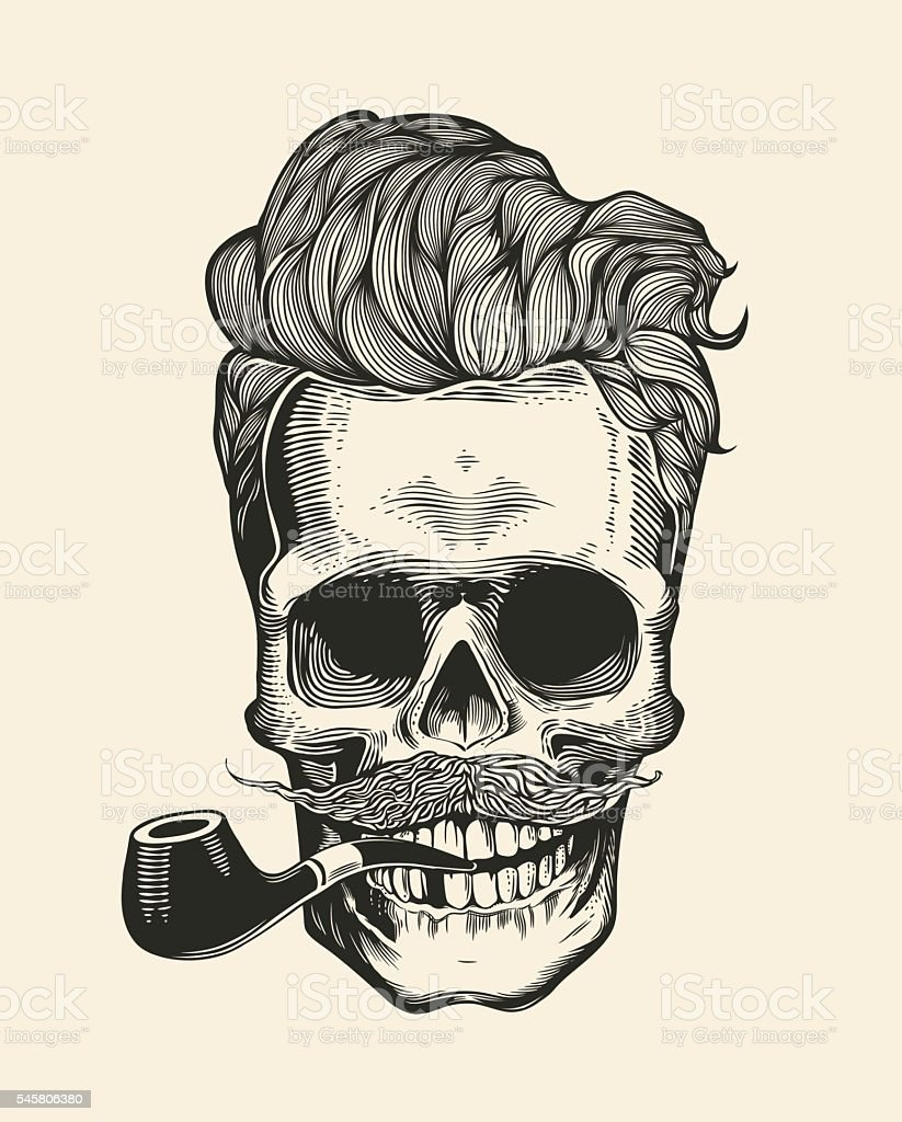 skull hipster silhouette with mustache beard and tobacco. Black Bedroom Furniture Sets. Home Design Ideas