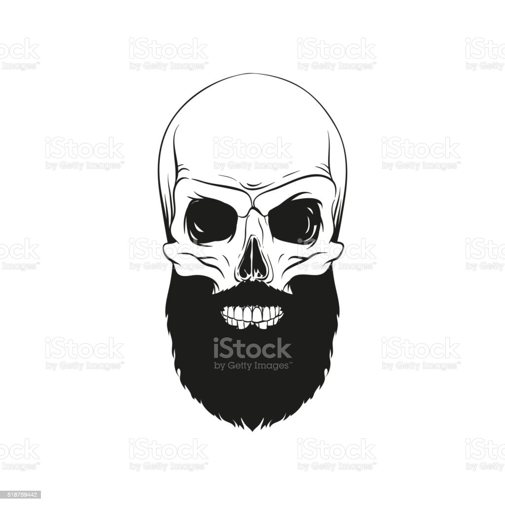 Skull hipster style, creative fashion design. Hand drawn vector illustration vector art illustration