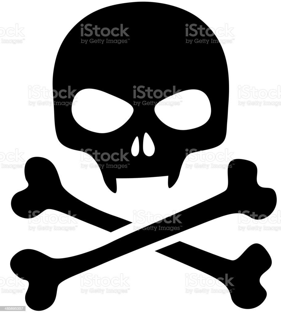 Skull icon isolated. Black skull with vampire fangs. vector art illustration