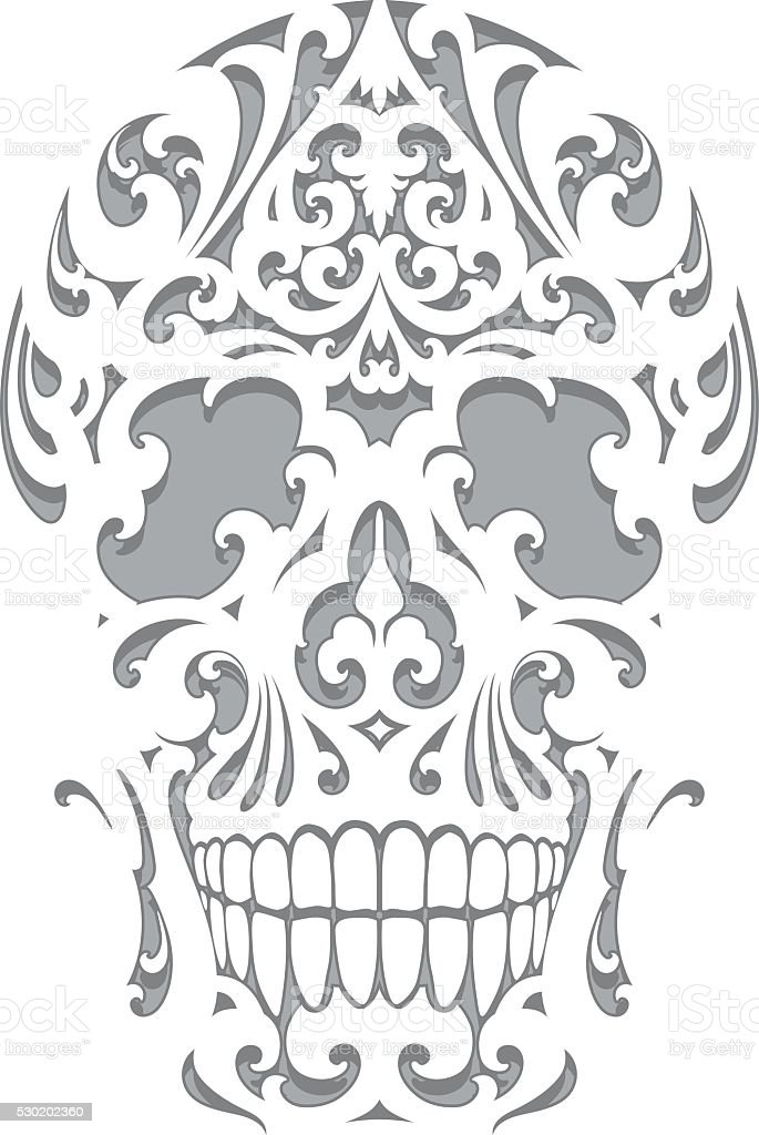 Skull illustration in art nouveau style vector art illustration