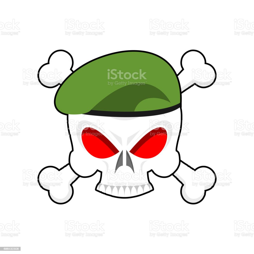 Skull in beret military emblem. Army cap and head of skull. Terrible sign for clothing soldiers vector art illustration