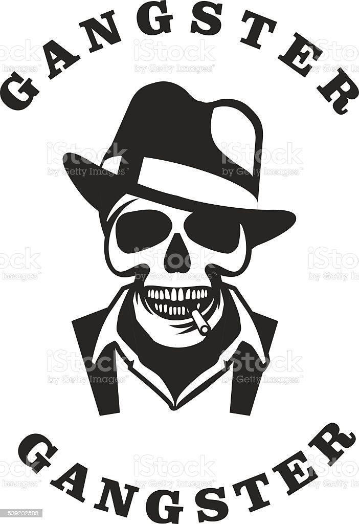 Skull in hat gangster vector art illustration