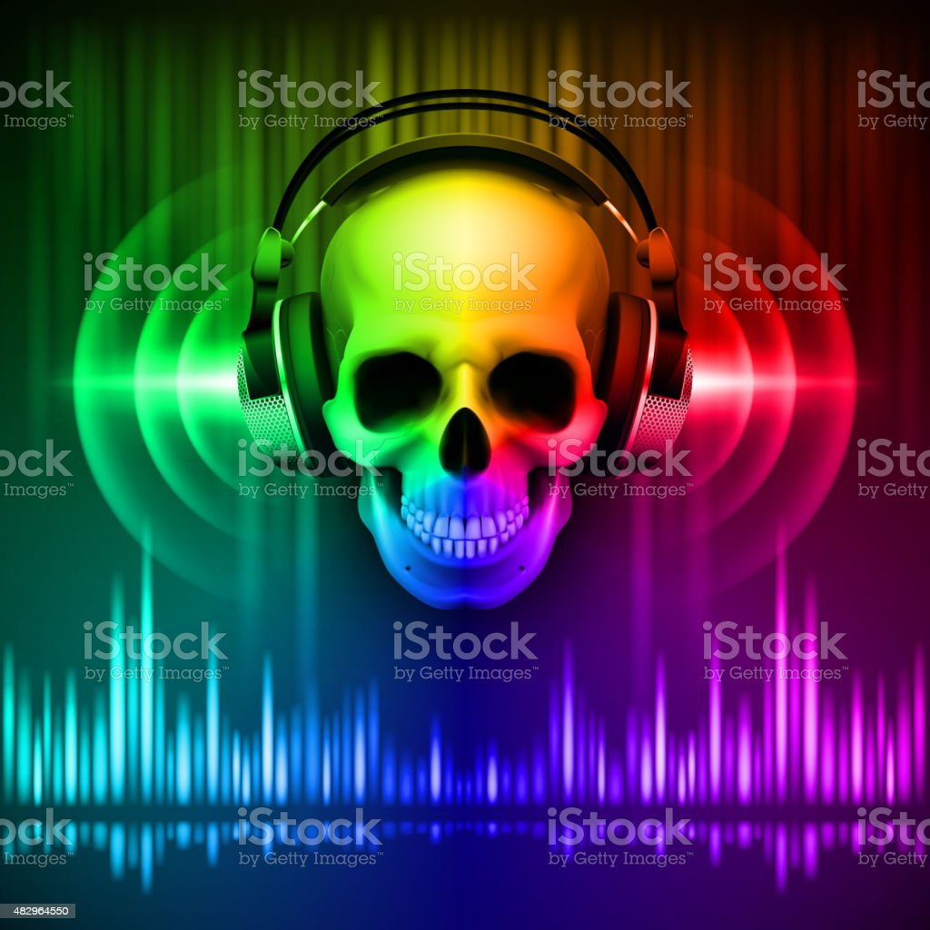 Skull in headphones. Disco background vector art illustration