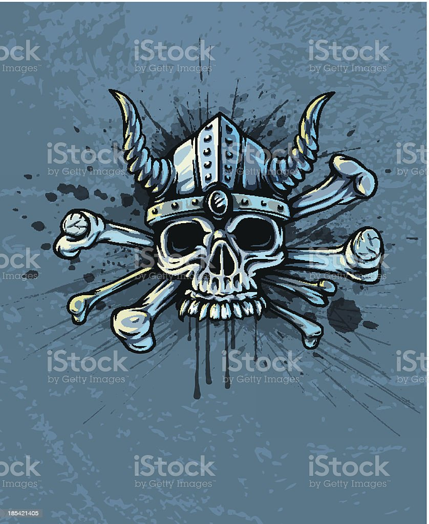 Skull in helmet with horns and bones royalty-free stock vector art