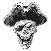 Skull in pirate clothes eye patch and hat smiling. Engraving