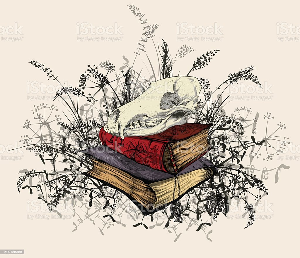 Skull in the occult books, surrounded by a grass. vector art illustration