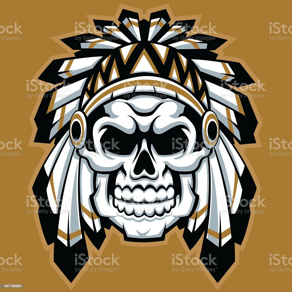 skull indian chief with feather hat vector art illustration
