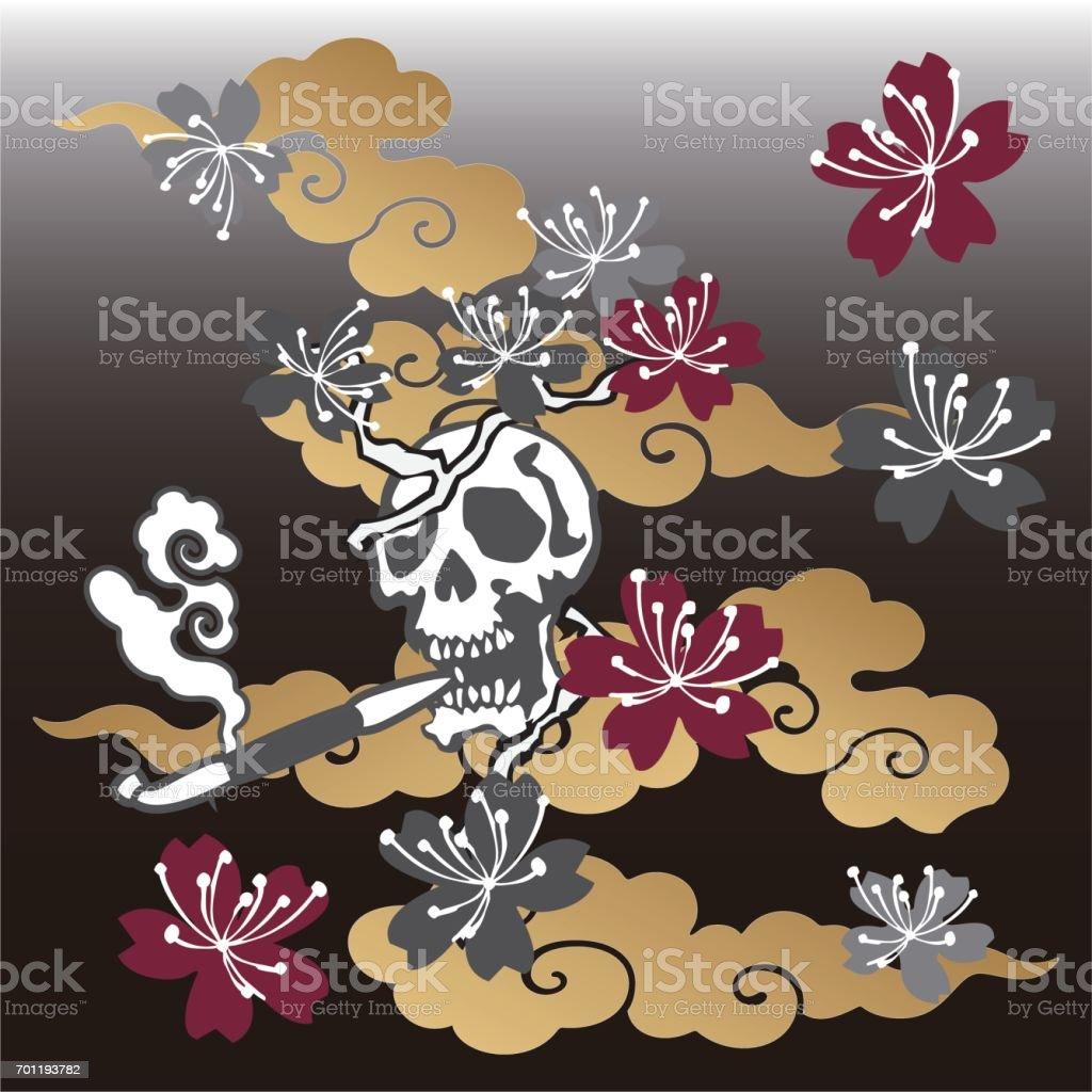 skull Japanese pattern vector art illustration