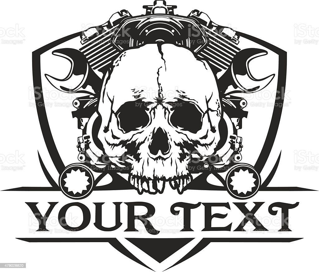 skull machine motorcycle wrench stock vector art 478028820 istock