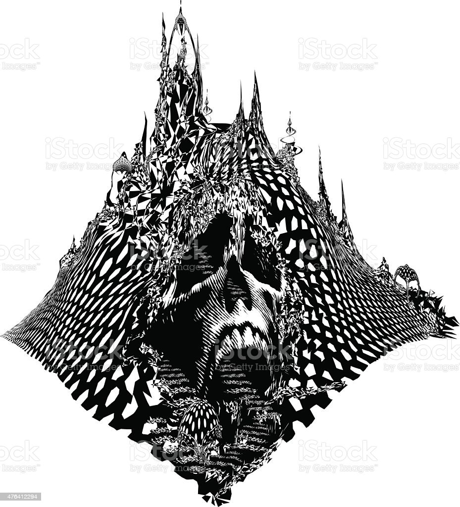 Skull Mountain. Scary Line Art Fantasy vector art illustration