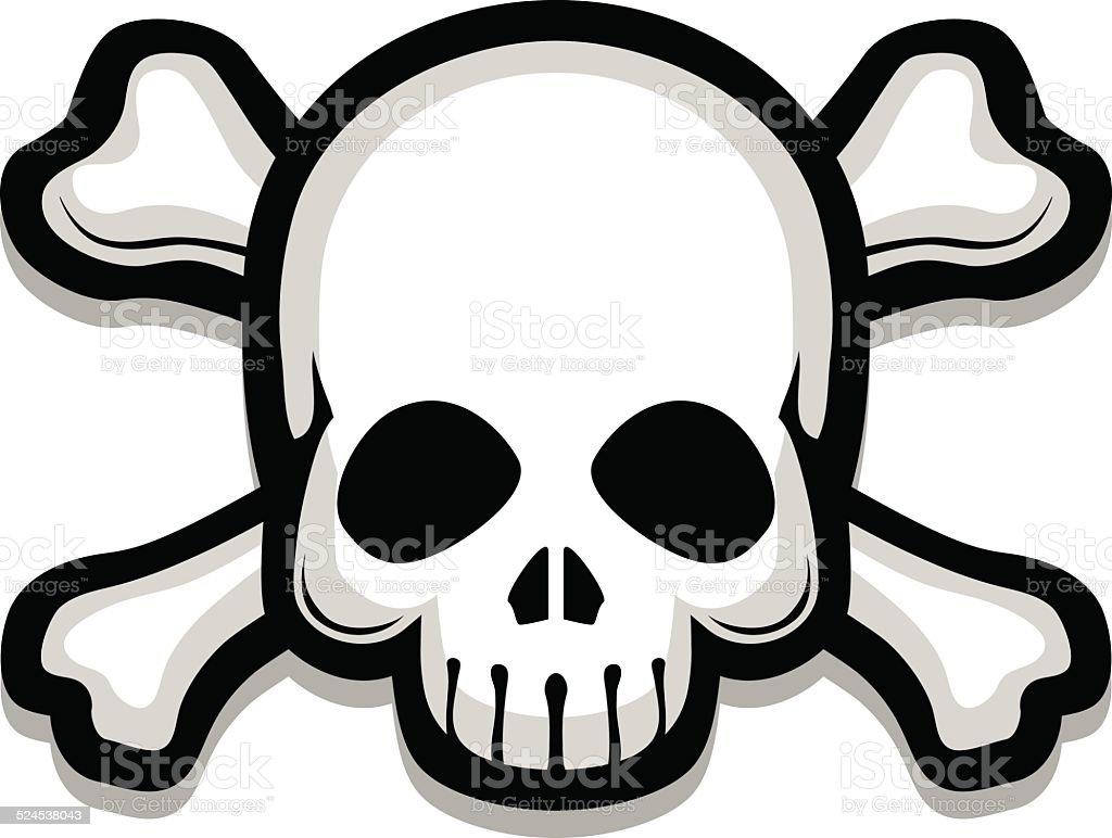 Skull on crossbones vector art illustration
