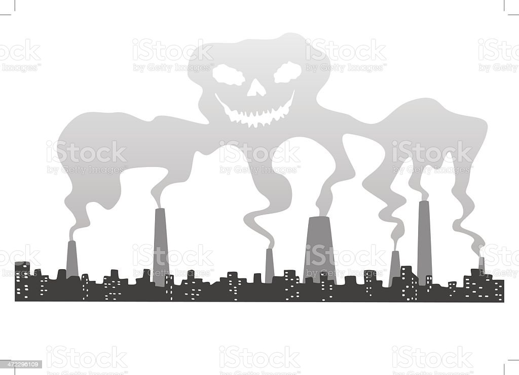 Skull out of smog royalty-free stock vector art