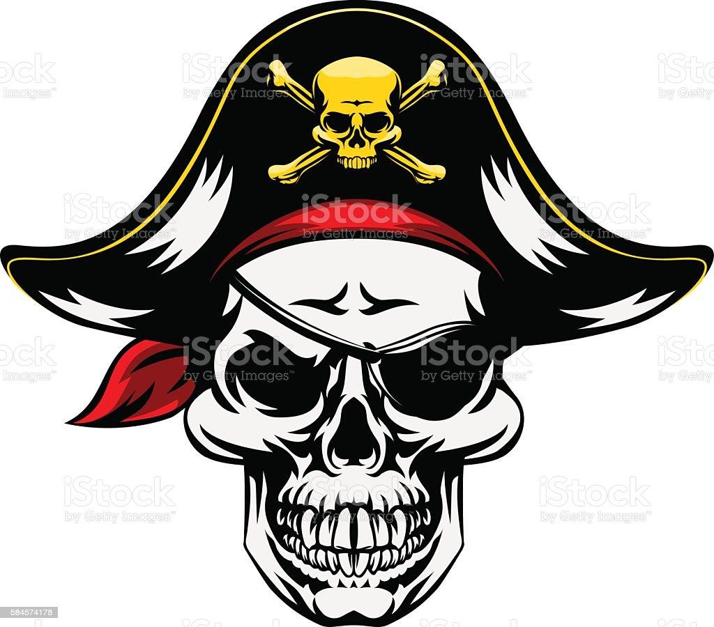 Skull Pirate Mascot vector art illustration