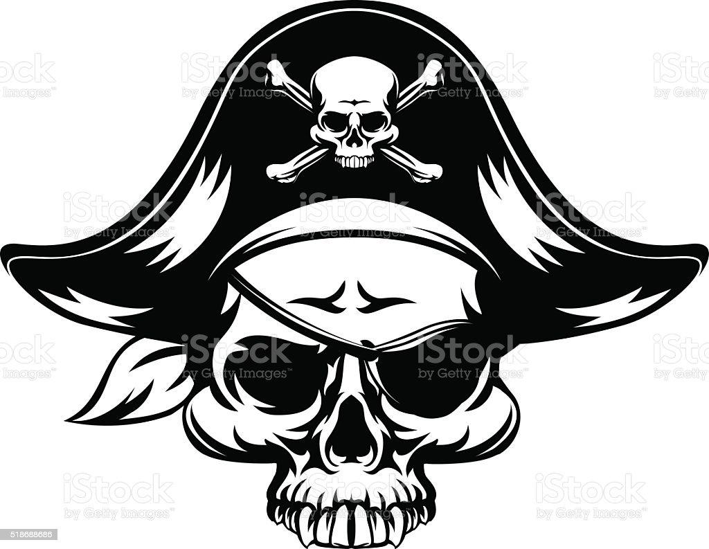 Skull Pirate vector art illustration
