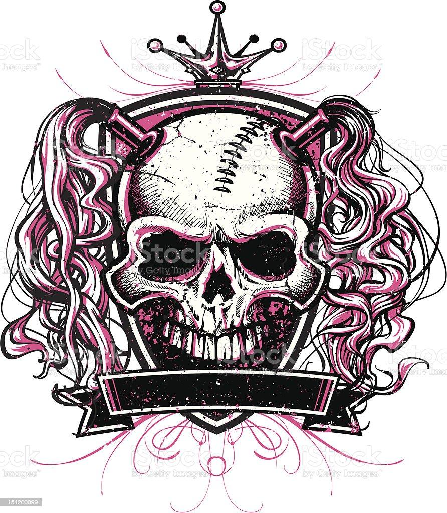 Skull Princess with Pigtails Crest Design vector art illustration