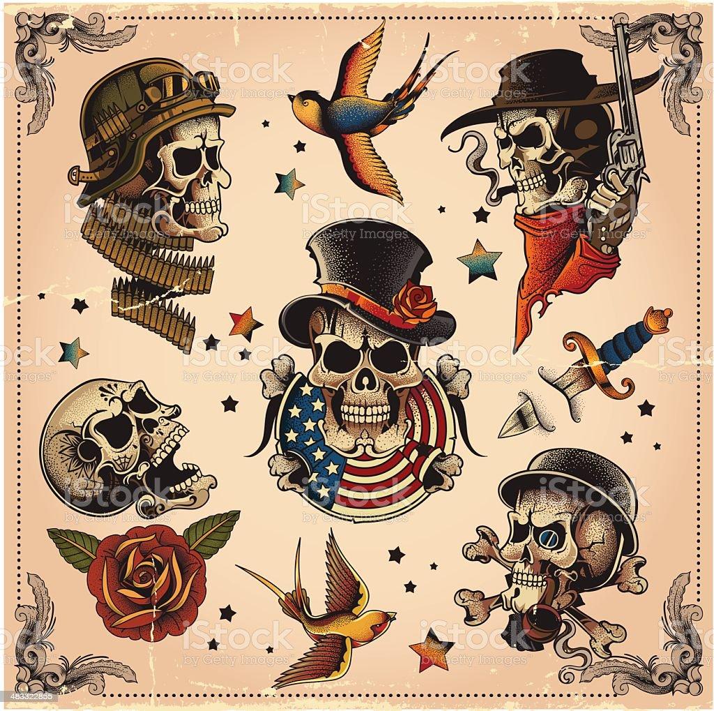 Skull set vector art illustration