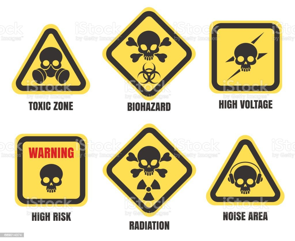 Skull signs, death notice symbols set vector art illustration