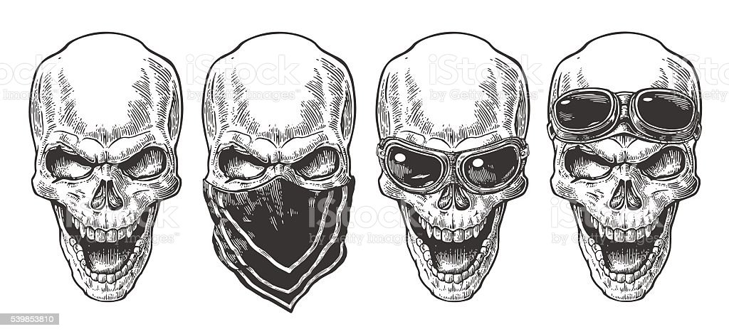 Skull smiling with bandana and glasses for motorcycle. vector art illustration