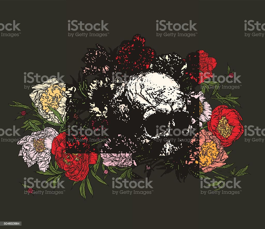 Skull surrounded by peonies . vector art illustration