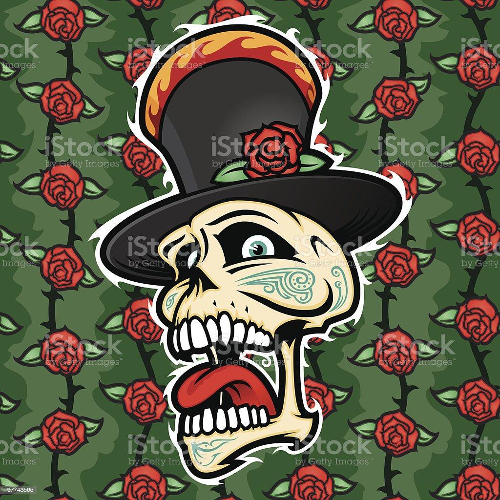 Skull Tattoo and Rose Pattern royalty-free stock vector art