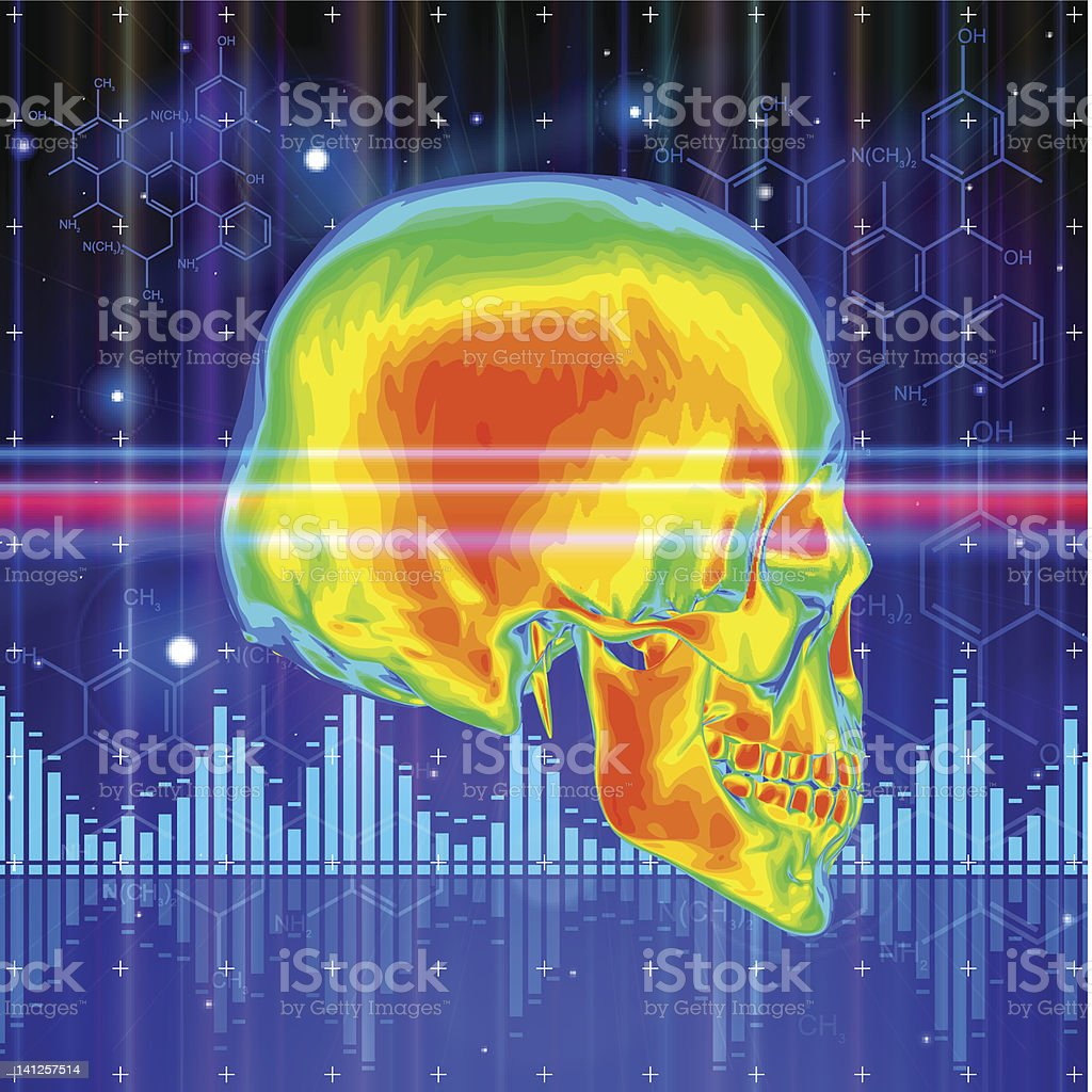 skull & technology background vector art illustration