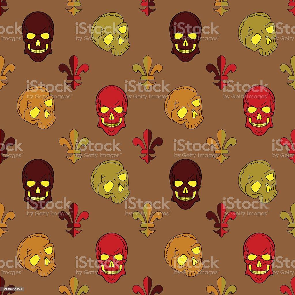 Skull vector, background lily flower, pattern vector art illustration