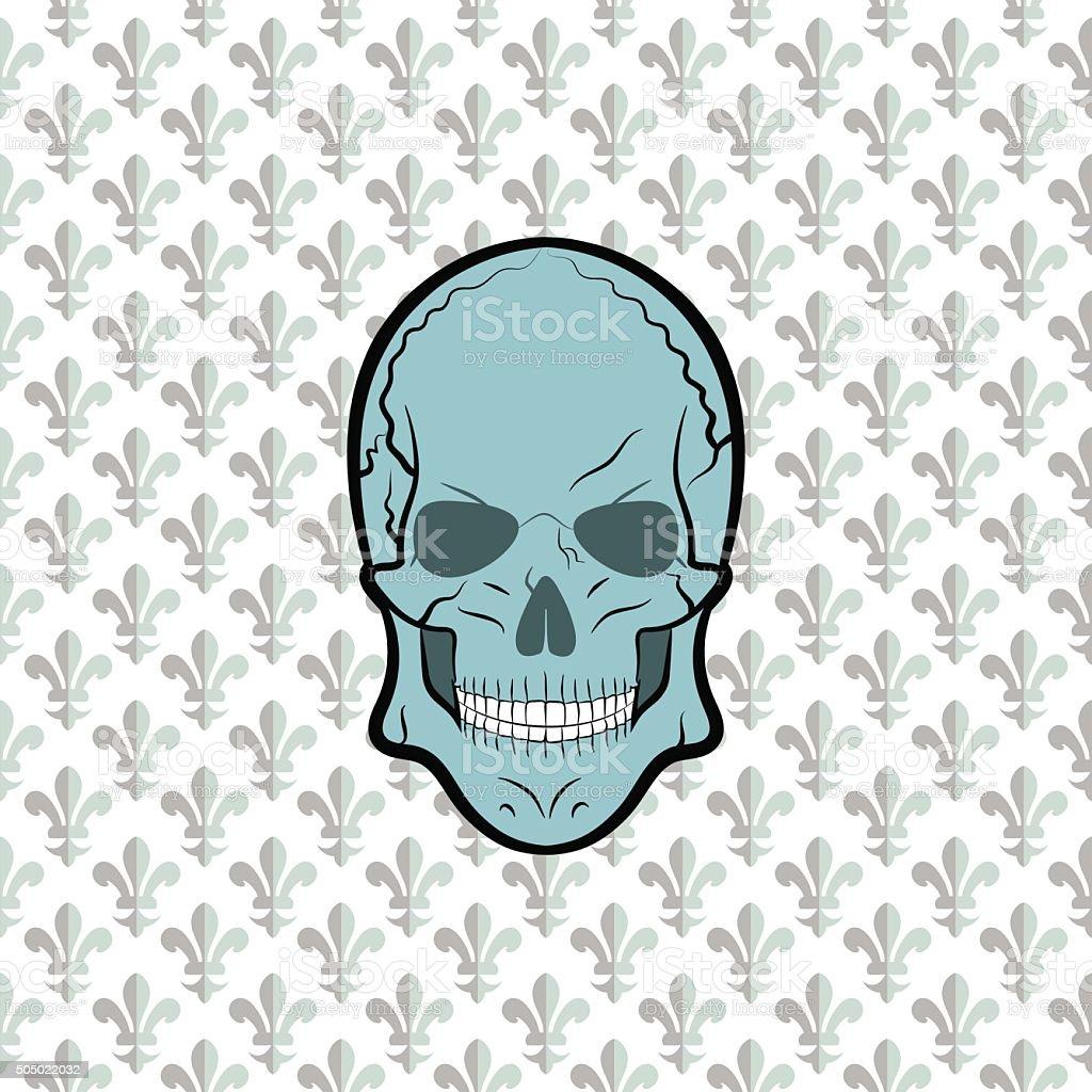 Skull vector, background lily flower vector art illustration