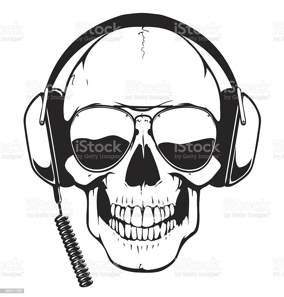 DJ Skull royalty-free stock vector art