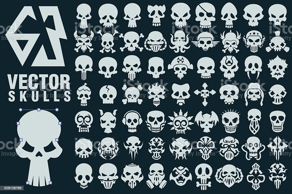 Skull Vector Shapes Collection vector art illustration