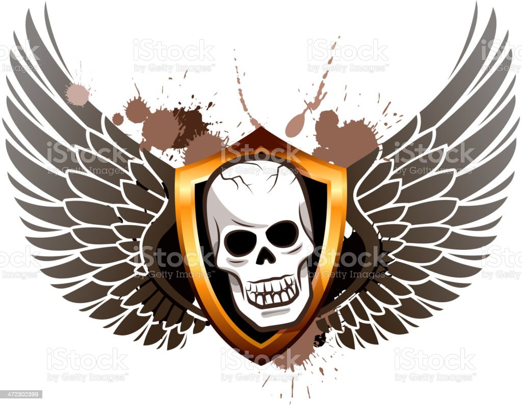 skull wings of shield royalty-free stock vector art