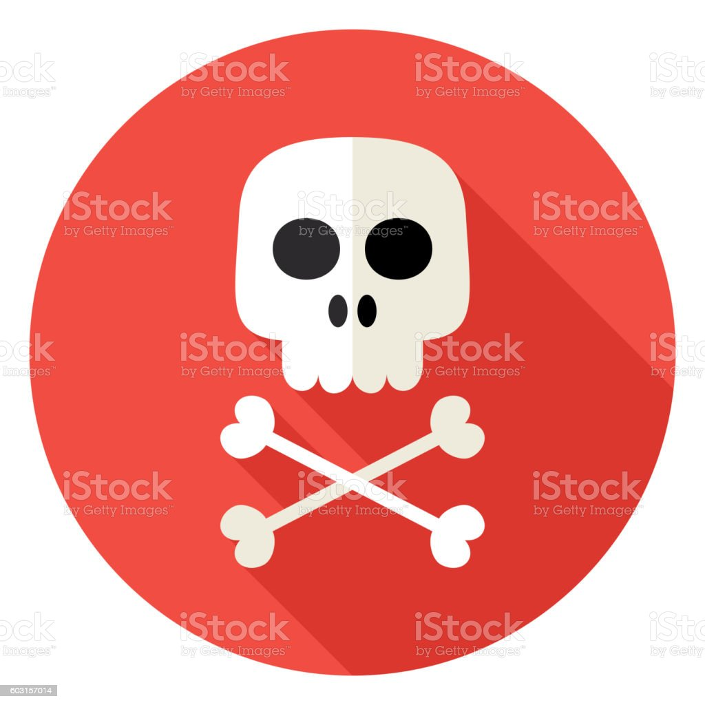 Skull with Bones Circle Icon vector art illustration