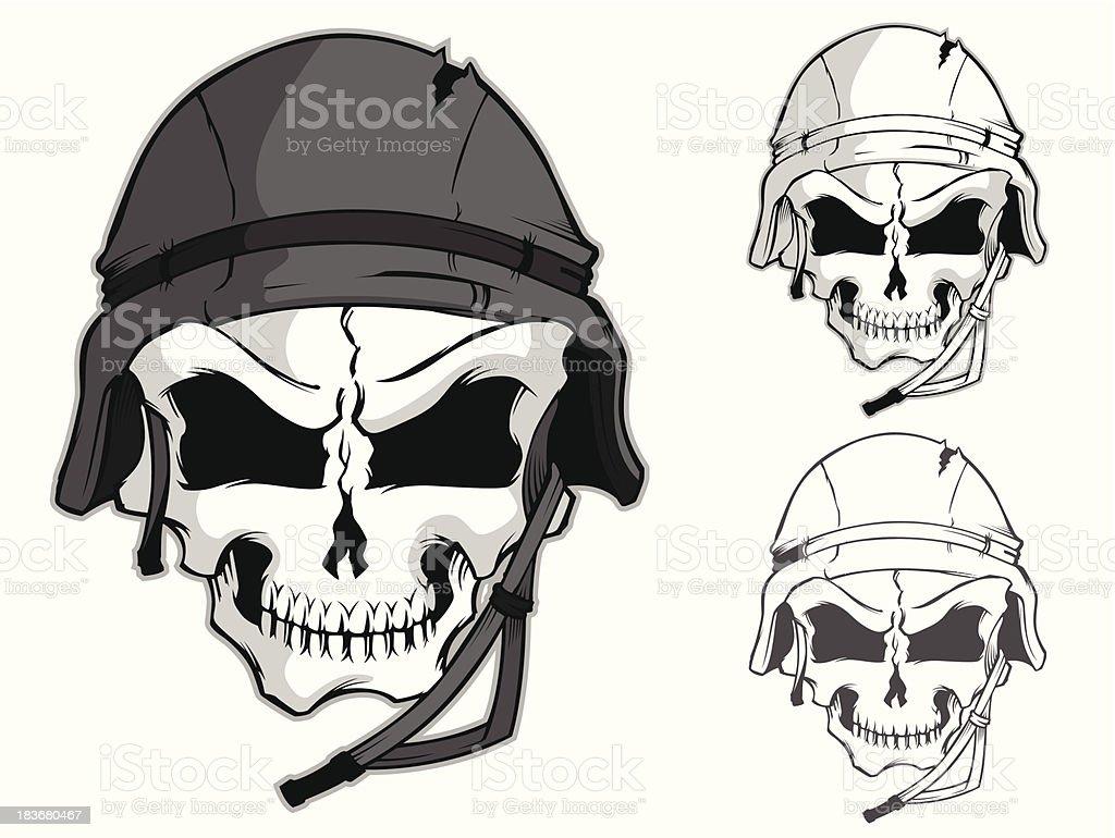 Skull with Combat Helmet royalty-free stock vector art