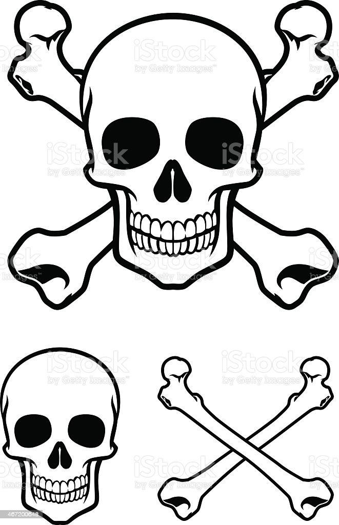 skull with cross bone vector art illustration