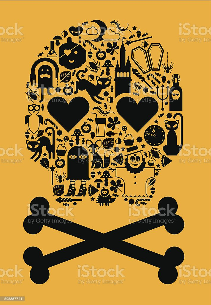 Skull with halloween silhouettes royalty-free stock vector art