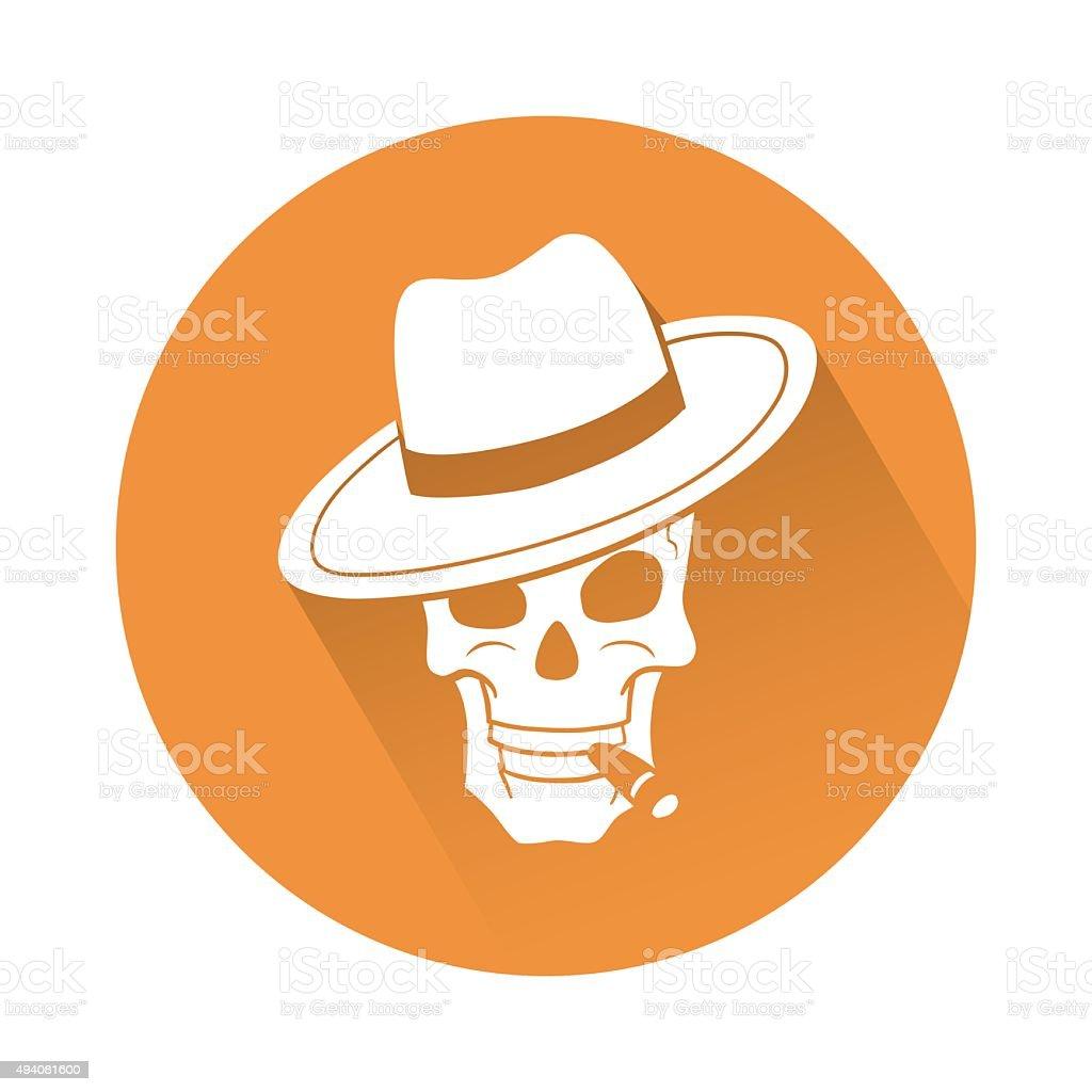 Skull with hat vector art illustration