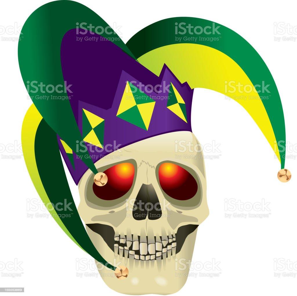 Skull with Jester Hat vector art illustration