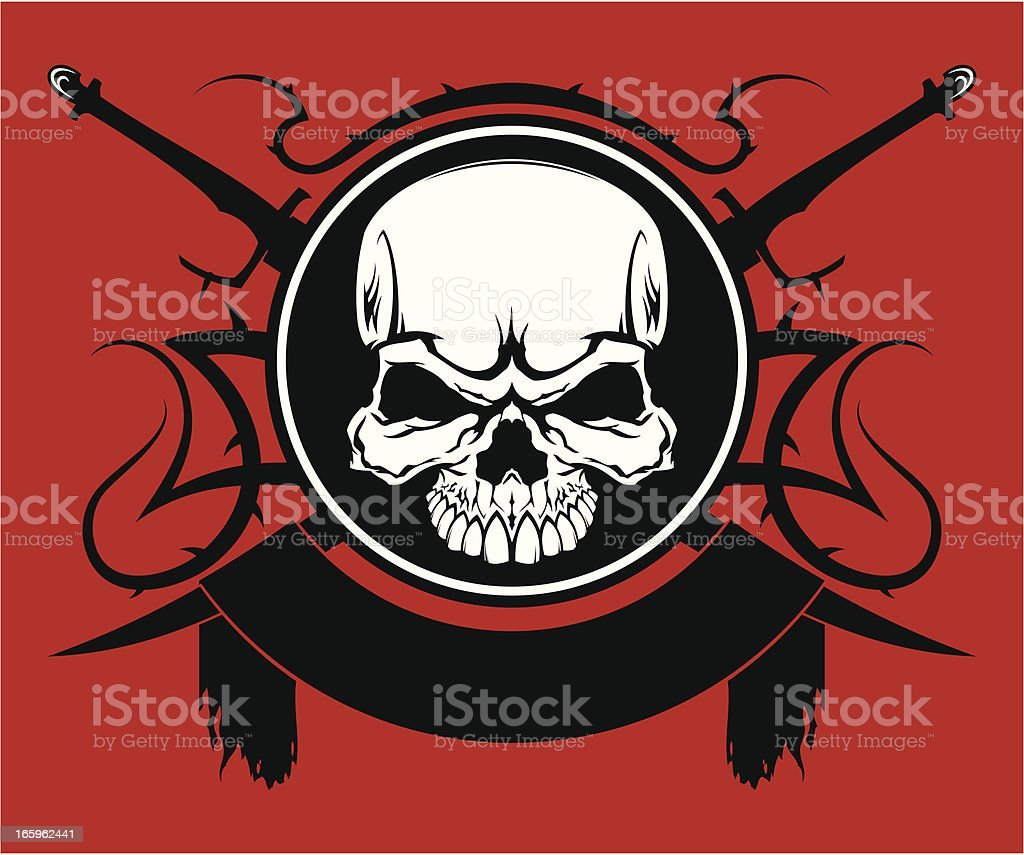 Skull with swords emblem royalty-free stock vector art