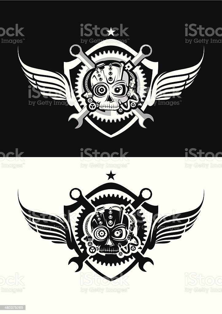 Skull with wing and emblem vector art illustration